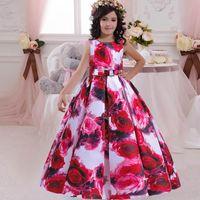 Girl's Dresses Teenager Girl Flower Dress Kids For Girls Children Print Floor Princess Vestido Party Wedding 10 12 Years