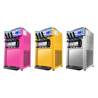 Desktop Ice Cream Makers Commercial Automatic Stainless Steel Ice Cream Production Machine Three Color Soft Ice Cream Machine