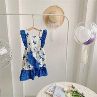 7820 baby girl kleid koreanische sommer kinder suspender mit unregelmäßigen Nähtenrock mode mädchen party 210621