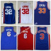 1992 Boa Qualidade Sportwear Bordado # 33 Patrick Ewing 6 Dr. Júlio Erving Jerseys Branco Azul # 3 Drazen Petrovic Sports Basketball Camisas