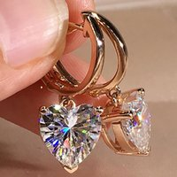 14k AU585 Rose Gold Mulheres Clipe Brincos De Aros Moissanite Diamantes 2 Carat Coração Casamento Partido Noivado Anniversary