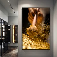 Gold Brush and Woman Canvas Paintings Modern Golden Wall Art Pictures Posters and Prints Cuadros Living Room Wall Decor Mural