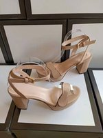 Sandales à talon à mi-hauteur 100% cuir rugueux femme chaussures chaussures mode métal boucle sexyGgChaussures de plage pour femmes de bovins moelleux taille 42 2438 #