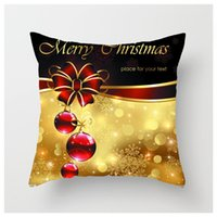 NEW Christmas Burlap Pillow case Christmas Home decoration pillow cover Shams Linen Square Throw Pillowcases Cushion Covers for GWD11137