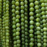 4/6/8/10 / 12mm Round Natural Jade Jade Pietra Perline FAI DA TE Branelli di giada verde sciolto per gioielli facendo il braccialetto Braccialetto 15 '' 111 Q2