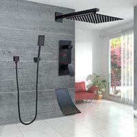 Matte nero ultra-sottile doccia doccia da bagno pioggia doccia rubinetto doccia sistema digitale vasca 3ways waterfall vasca beccuccio miscelatore