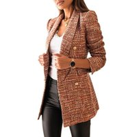 Women's Suits & Blazers Fashion Casual Long-Sleeve Double-Breasted Suit Collar Print For Autumn 2021 Female Splice 3XL Oversize Cotton Cloth