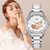 Designer Luxus Marke Uhren G Mechanische Frauen Automatische Skeleton Mode Damen Kleid mit Strass Weiß Keramik Handgelenk Relogio