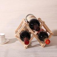 Baldes de gelo e refrigeradores Cremalheira de vinho de madeira dobrável clássico titular vermelho 3 garrafa montagem de cozinha barra de exibição de barra