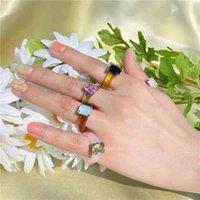 Harz Acryl Diamant Ringe Vintage Kunststoff Harz Ring Bunte Index Fingerring Schmuck Mode Einzigartige Quadrat Edelstein Ring Abbildung Zubehör