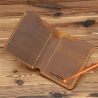 Card Holders Engraving Arrival Vintage Men's Genuine Leather Holder Small Wallet Money Bag ID Case Mini Purse For Male
