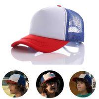 Cosas más extrañas Cosplay Caps Béisbol Malla de béisbol Cap Cap Rojo Blanco Azul Hat Cosplay Props Ajustable Para Niños Adulto X0709 x0710