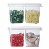 가정용 부엌 양파 생강 마늘 더블 그리드 보관 상자 냉장고 커버 음식 봉인 된 투명한 신선한 보관 상자