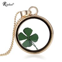 Pendant Necklaces Handmade Natural Real Dried Flower Lucky Four Leaf Clover Resin Round Glass 35mm Locket for Women Jewelry