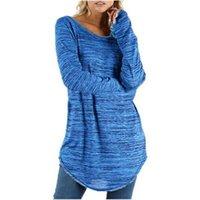 여성 2021 플러스 사이즈 느슨한 라운드 넥 티셔츠 긴 스타일 솔리드 컬러 티셔츠 숙녀 겨울 겨울 털 코튼 탑스 카메인