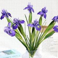 Fleurs décoratives Couronnes 3pcs fleur artificielle haute de haut de gamme Sentence irlandaise Iris Real Touch Violet Accueil Décoration de mariage Ornements Ornements Orchents