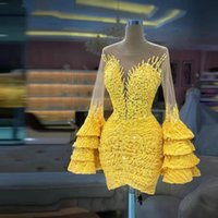 Yellow Short 2022 Prom Dresses Long Sleeve Jewel Neck Custom Made Straight Crystals Flower Lace Mini Length Cocktail Party Dress