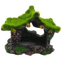Decorações aquário decoração casa resina oco esconder casa, beta peixes log Driftwood acessórios caverna tanque