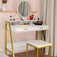 Мебель для спальни Комод Flip Одноместный Белый Художник Зеркало с Таблицей Двойной ящики
