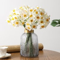 Decorative Flowers & Wreaths Creative Artificial Narcissus Flower Bouquet Home Decoration Fake Desktop Wedding Scene Decor Daffodil Yellow