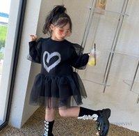 Sweet Girls lace tulle dresses children love heart letter printed T-shirt+lace gauze puff sleeve princess dress 2pcs autumn kids clothing Q1111