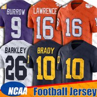 10 Tom Brady 26 Saquon Barkley 16 Trevor Lawrence Jersey Michigan Wolverines College Penn Bundesstaat 9 Joe Burrow Jerseys 13 TUA THAYVAILO 97 Nick Bosa LSU Clemson Tigers