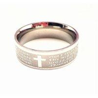 الذهب والفضة الفولاذ المقاوم للصدأ الإنجليزية الصلاة الصلاة الرب الصليب الخاتم WMTCN _DH