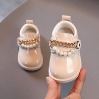 First Walkers 2021 Baby Little Girls Sweet Flats Princess Single Soft Bottom Toddler Shoes Non-slip Leisure Cute Pearl Wedding