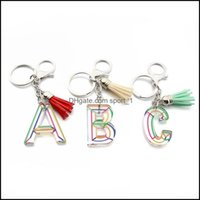 Jewelryinitial Letter Keychains Leather Tassel Car Keyrings Rings Holder Women Key Chains Aessories Personalized A Z Alphabet Bag Charms 618