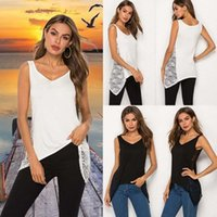 Women's Tanks & Camis Size Summer 2021 Fashion Women Tank Tops V-Neck Sleeveless Casual Lace Clothes Bottoming Vest Shirt White