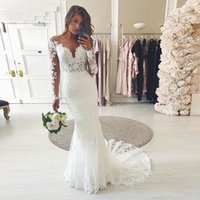 Scoop Neck Lace Appliques Mermaid Wedding Dress Long Sleeves Sweep Train Tulle Plus Size Bridal Gowns
