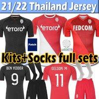 21/22 Monaco Soccer Jerseys Jersey Jersey Dalger As Ben Yedder Jovétique 2021 2022 Hommes Kits Enfants Chaussettes Full Sets Football Shirt Thaï Top Thaïlandaise