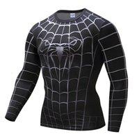 Erkek Siyah Örümcek Fitness Giysileri Hızlı Kurutma 3D Kısa Kollu Basketbol Koşu Ter Fishing T-Shirt