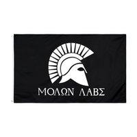 Black Ven y Tómalo Molon Labe Spartan Helmet Flag 3x5ft 90xx150cm Bandera personalizada Decoración para el hogar Decoración de poliéster