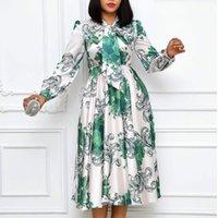 Vestidos casuais mulheres mangas compridas impresso com colarinho bowtie plissado cintura alta Midi elegante senhoras moda africana vestidos vestes