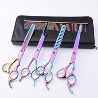 Hair Scissors Colorful Cutting Flat Cut Teeth Pet Grooming Tool Kit Dog Set Color Random High Quality