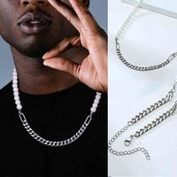 Hip Hop Necklace Men, 7mm Miami Cuban Link Chain And Half 8 mm Pearls Choker,Necklace For Men In Stainless Steel Jewelry