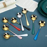 Coffee de aço inoxidável agitação colheres de sorvete colorido Sobremesa Sopa Sopa Colher de 7 polegadas Reusável Açúcar Rodada Spoons OWA9444