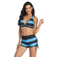 One-Piece Suits Women High Waisted Halter Push Up 2 Piece Bikini Set Sexy V Neck Back Cross Bikinis Top Swimsuit Gradient Stripe Swimming Su