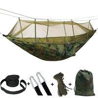 모기장 휴대용 매달려 침대 낙하산 스윙 잠자는 해먹 물건을 가진 야외 패드 캠핑 해먹