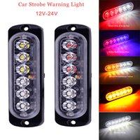 스트로브 경고등 12-24V 6LED 트럭 구급차 램프 울트라 얇은 자동차 LED 측면 마커 조명 경찰 플래시 비상 조명