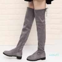 Boots Thigh High Female Winter Women Over The Knee Flat Stretch Sexy Fashion Shoes Black