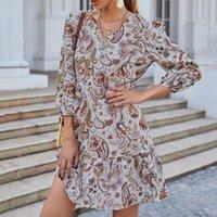 Casual Dresses 40# Vintage Printed Mini Dress Women Elegant V-neck Long Sleeve Chiffon Boho Holiday Summer Vestidos