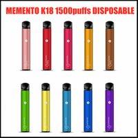 100% Оригинал Memento K18 Одноразовый Устройство Устройство Устройство 1500 Загониева Аккумуляторная 850 мАч Предовычатая батарея 4.8 мл POD Vape Stick Pen DHL бесплатно