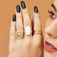 Горячие продажи позолоченные 3 шт. / Компл. Панк Винтаж Геометрический круглый жемчужный металлические кольца кристалл Геометрические костяшки пальца большие кольца для женщин еврей