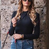 Blsqr sexy o collo manica lunga donna donna nero autunno inverno corpo top casual signora Streetwear bodysuits
