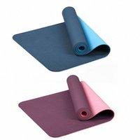 2x 6mm TPE Zweifarbige rutschfeste Yoga Matte Sportmatte 183x61cm Fitnessstudio Home Fitness Geschmackslos Blau Lila S6zz #