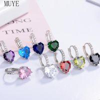 Hoop & Huggie MUYE Real 925 Sterling Silver Heart Zircon Earrings Ear Buckle For Women's OL Fashion Jewelry Party Gift