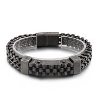 Link, Chain European And American Fashion Personality Hip-hop Style Vacuum Plating Curved Brand Men's Titanium Steel Bracelet
