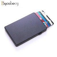 Kart Sahipleri ByCobecy Slim RFID Moda Debriyaj Tutucu -Up Push Button Hırsızlık Alüminyum Tek Kutulu Akıllı Cüzdan Adı Kılıf